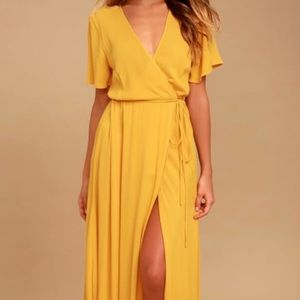 Lulu's Much Obliged Golden Yellow Wrap Maxi Dress